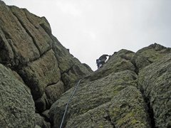 Rock Climbing Photo: Dan finishes off the short face climb at the top o...