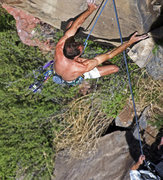 Rock Climbing Photo: Kyle dislodging the death block.  A split second a...