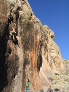 Rock Climbing Photo: Mike. Black Beauty (12c).  Sun City, Mesquite, NV.
