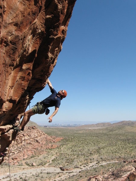 Joel, Drilling Miss Daisy (11a) Conundrum Crag, Red Rock, NV.
