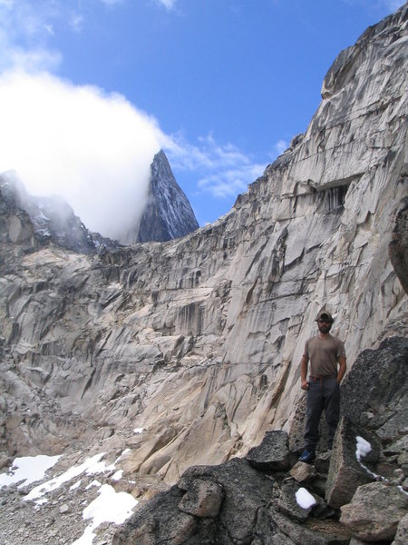 Rock Climbing Photo: Darren in front of Brenta Spire, with Bugaboo Spir...