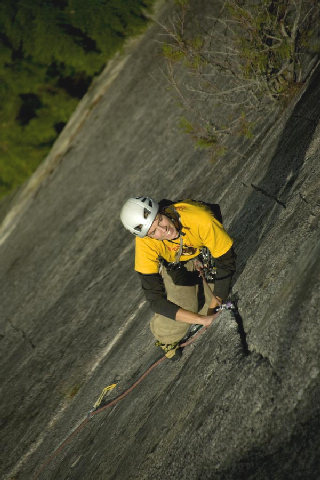 Tristan leading pitch 2 on Hairpin, Papoose.<br> Photo by Gerhard Schaar