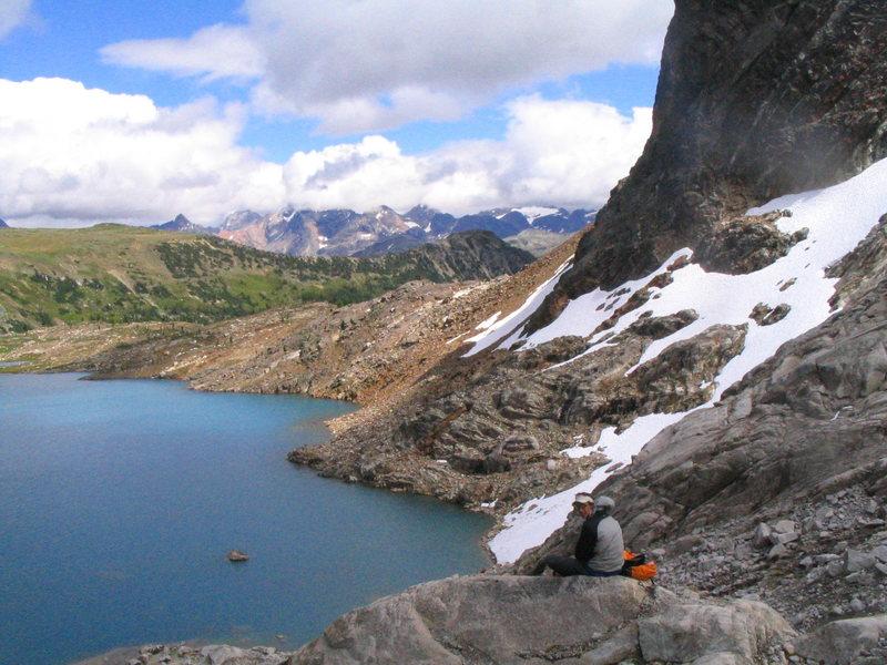 Rock Climbing Photo: Josh at Cobalt Lake, Bugaboos, BC.
