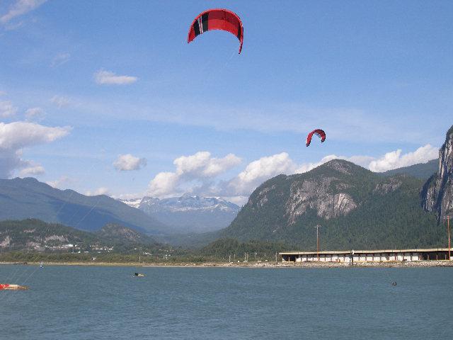 Kiteboarding on the Howe Sound; Garibaldi in background