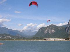 Rock Climbing Photo: Kiteboarding on the Howe Sound; Garibaldi in backg...
