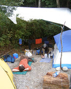 Rock Climbing Photo: Our campsite at the base of the Chief, with our bi...