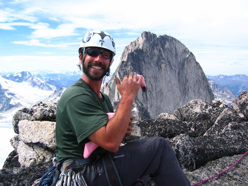 Darren and the Flamingo.  Snowpatch Spire, Bugaboos, BC.  photo by Gomoll.