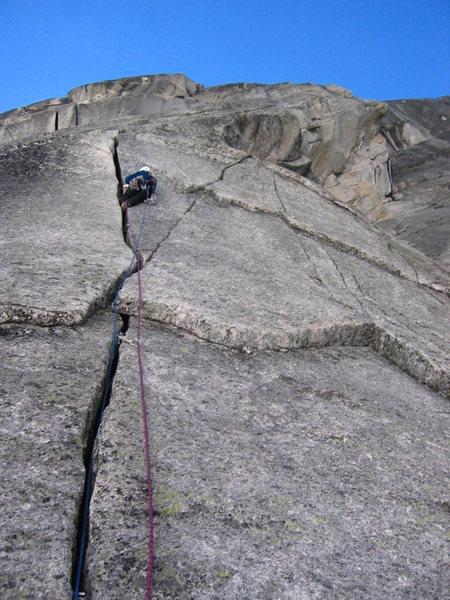Gomoll slaying p2.  Sunshine Cracks (11-), Snowpatch Spire, Bugaboos, BC.