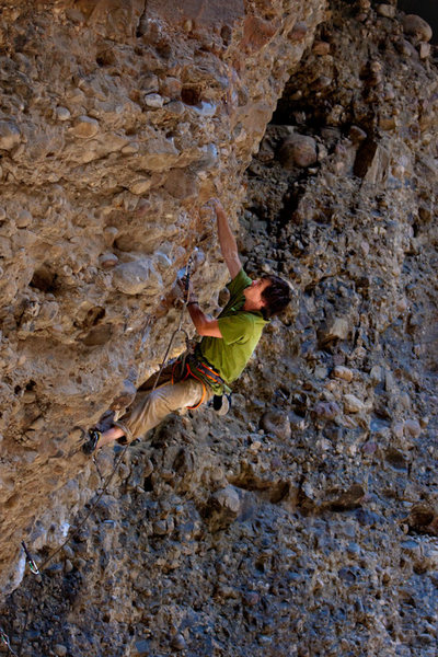 Rock Climbing Photo: Hayden right after clipping the crux bolt on his w...