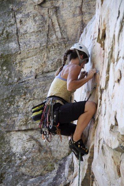 Rock Climbing Photo: Overhanging Hangover, 5.11b, Pilot Mountain