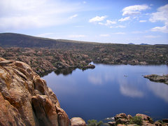 Rock Climbing Photo: View of Watson Lake from anchors of Hour of Power ...