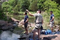 Rock Climbing Photo: Belay Rock in middle of Cache Creek.  Meade, John ...