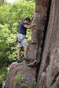 Rock Climbing Photo: Jim starting the big flake my guess 5.5