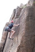 Rock Climbing Photo: Mike on tips of a sweet line to the right of the b...
