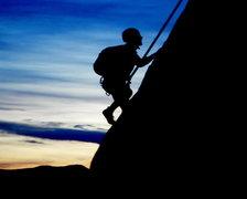 Rock Climbing Photo: Sheep Mtn, 5.10 R, at Sunset