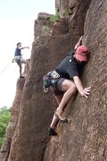 Rock Climbing Photo: Mike looking right and reaching left next to the f...