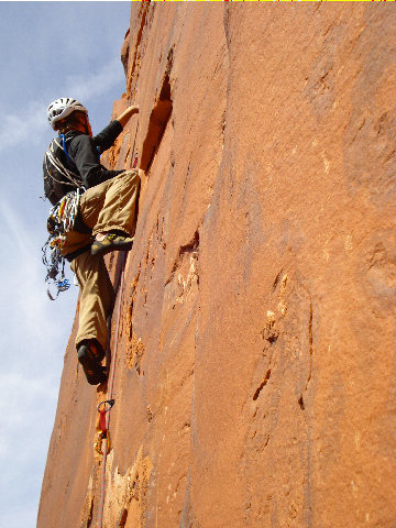 Tristan Hechtel leading the great hand crack on pitch 4