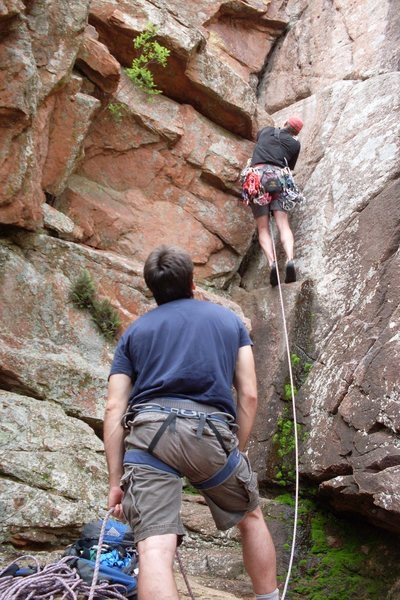 Meade on Belay as Mike runs The Dihedral