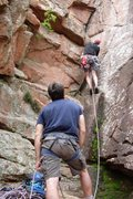 Rock Climbing Photo: Meade on Belay as Mike runs The Dihedral