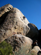 Rock Climbing Photo: Todd cruising for the onsight.  The start is the c...