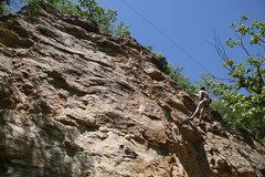 Rock Climbing Photo: Donkey Punch Wall from below. Brian toproping Ride...