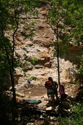 Rock Climbing Photo: Donkey Punch Wall from approach trail (at the base...