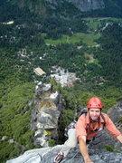 Rock Climbing Photo: Jeff on the Arrowhead Arete. Arrowhead Spire is in...