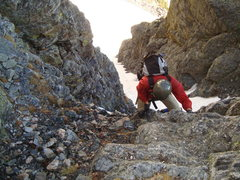 Rock Climbing Photo: Climbing out of the couloir on what we call P2, he...