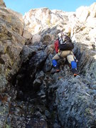 Rock Climbing Photo: Erik heading up through low 5th/M-easy ground towa...