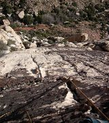 Rock Climbing Photo: Looking down the second pitch of Sunset Slab Direc...