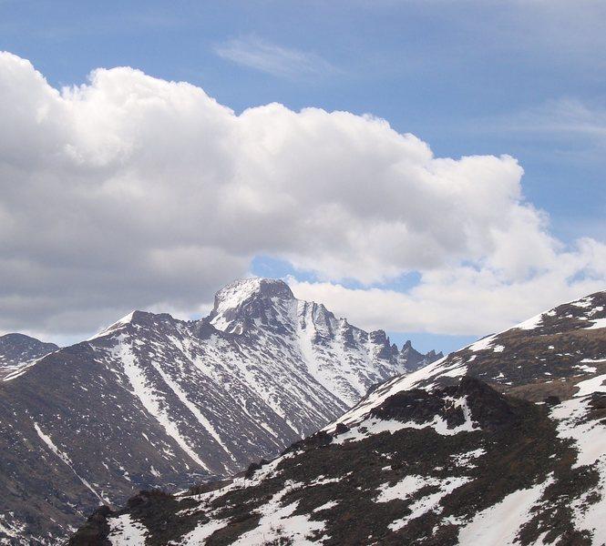 Rock Climbing Photo: Longs from the Emerald Lake trail. 5/31/09