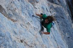 Rock Climbing Photo: cruxing on maldito
