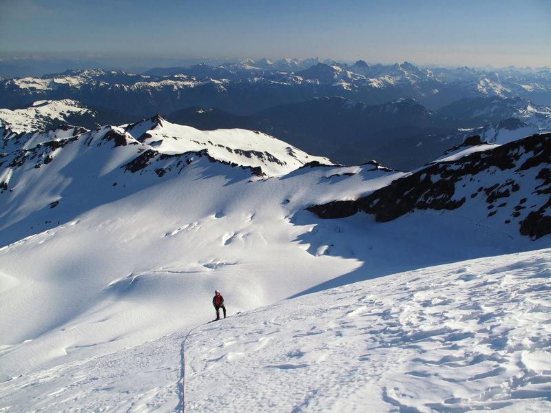 Mt. Baker. Henning Boldt on the lower slopes of North Ridge.