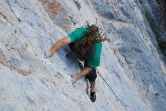 Rock Climbing Photo: reaching the jug after first crux
