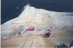 """Rock Climbing Photo: cleaning on the """"sheild"""" VI A3"""