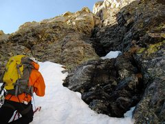 Rock Climbing Photo: The Cleft route breaks off from the couloir and ta...