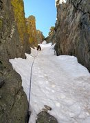 Rock Climbing Photo: Jeff leading the upper couloir (p4 as listed). A s...