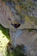 Rock Climbing Photo: Danny Robertson on upper crux section of Achilles.