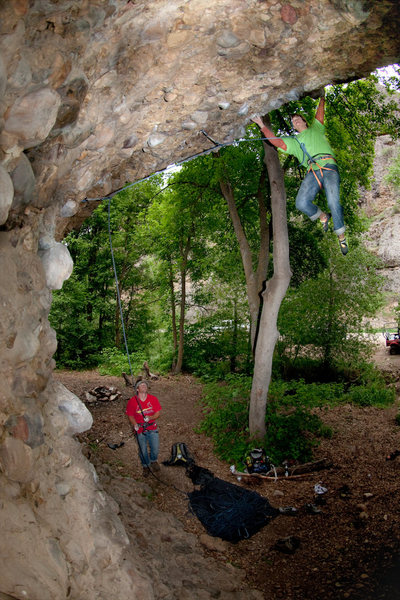 "Rock Climbing Photo: Hayden on his send.  grabbing ""The Rolling St..."