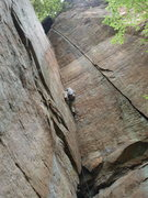 Rock Climbing Photo: Almost to the crux where the crack gets thin