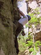 Rock Climbing Photo: Larry gathers himself for a big move on Gravy Trai...