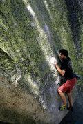 Rock Climbing Photo: Jeff on the starting crux of Big Greeny