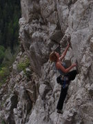 Rock Climbing Photo: The balancy clip on Mad Swiller.  Fun juggy granit...