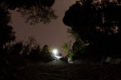 Rock Climbing Photo: first pitch at night fall.  top rope with head lam...