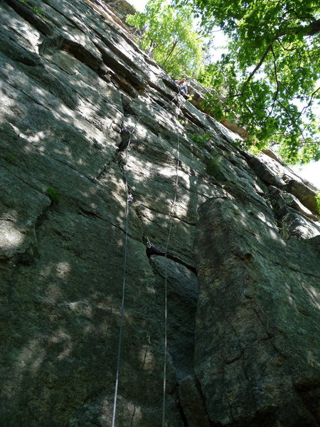 The ropes are on Bloody Mary (5.6);  Morning After climbs the face ~10 feet left of the crack.