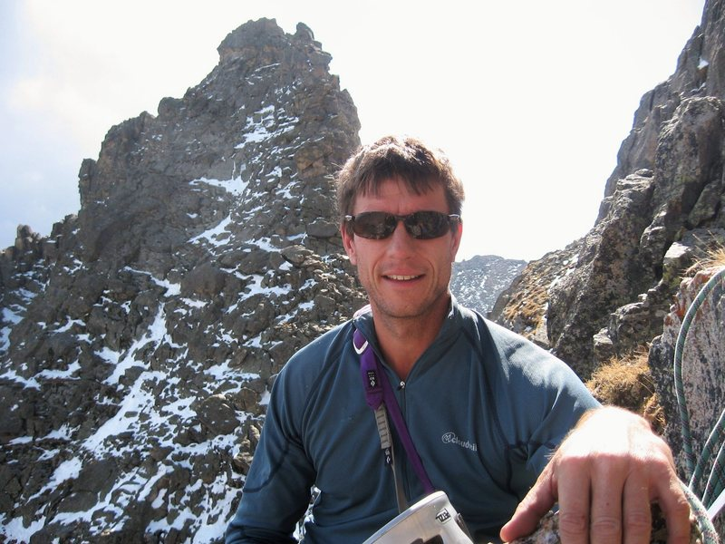 Me on a belay ledge on Sharkstooth, Colorado, Sept. 2008.