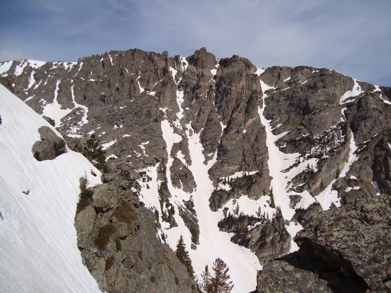 South side of Flattop from top of the east buttress of Hallett. 5/31/09