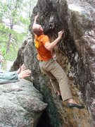 Rock Climbing Photo: Penultimate move on this fun problem.