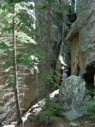 Rock Climbing Photo: This is what the belay area below the route looks ...