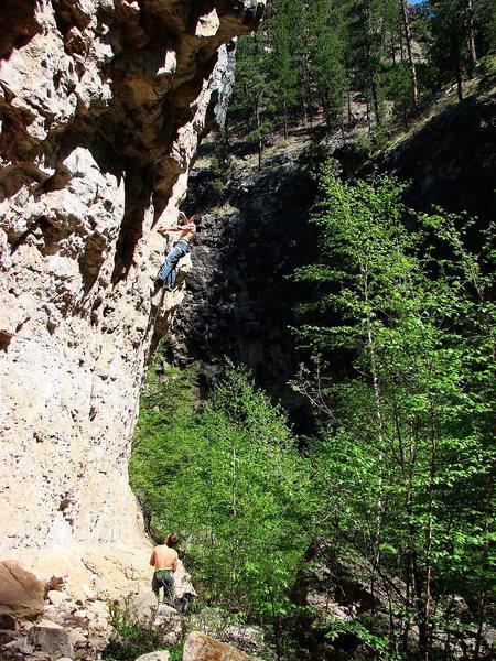 Rock Climbing Photo: Mike Cronin belayed by Luke K on a new 5.12.